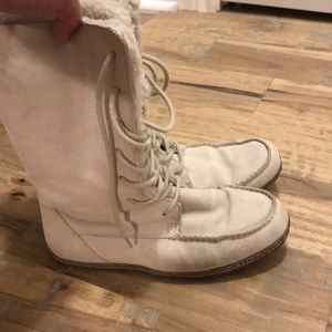 Lands End Canvas cream suede boots